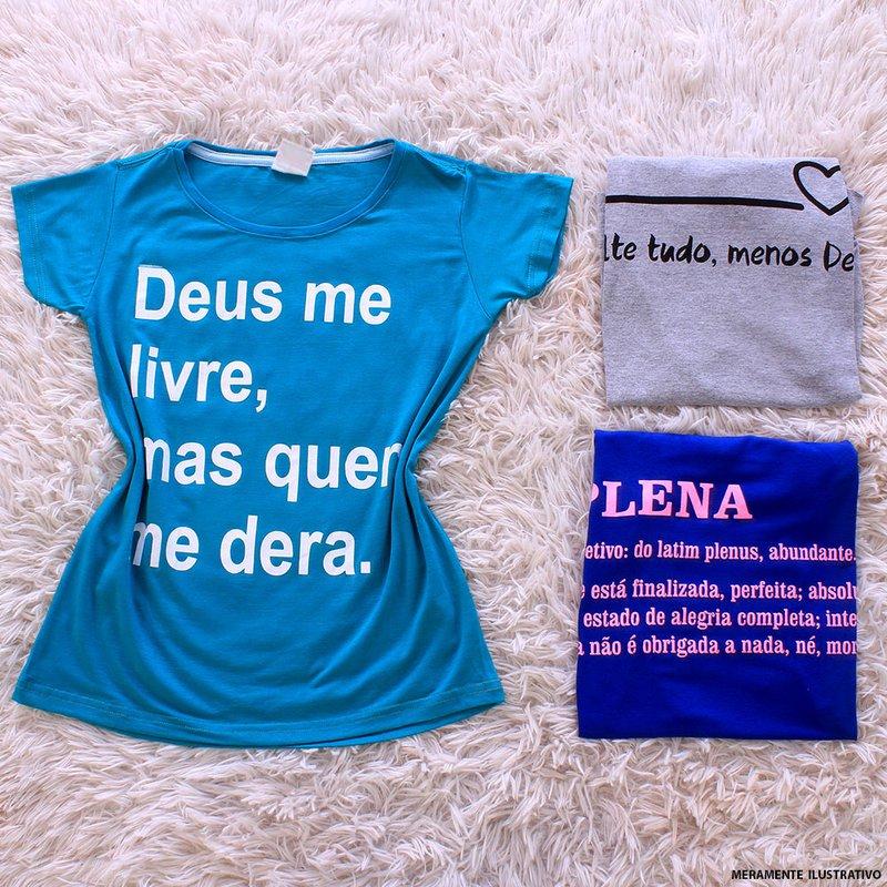 825eae3de178 Kit Feminino Com 3 Camisetas Cores E Frases Variadas - Compre Agora ...