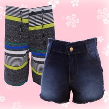 799200824 Kit Namorados Bermuda Tactel + Short Jeans