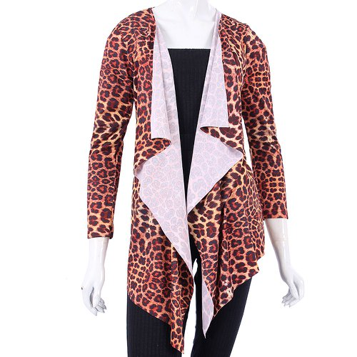 Cardigan Malha Feminina Estampa Animal Print