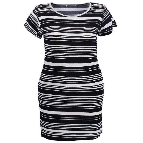 b245929fe Vestido Feminino Plus Size Listrado Manga Curta - Compre Agora ...