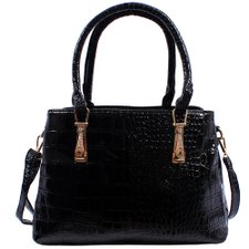 Bolsa Satchel Verniz Feminina Estampa Animal Print E Strass