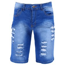 Bermuda Jeans Manchada Destroyed Masculina