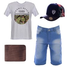 Kit Camiseta Estampada + Bermuda Jeans + Carteira + Boné Trucker