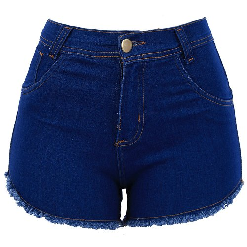 Short Jeans Feminino Hot Pants Barra Desfiada