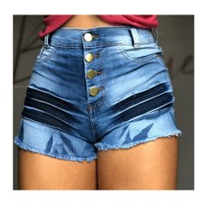 Short Jeans Hot Pants Barra Desfiada Feminino