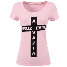 Camiseta Feminina Baby Look Estampa De Cruz Frontal
