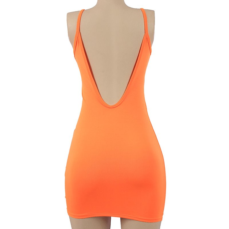 Vestido Panicat Feminino Neon Cavado Nas Costas Compre
