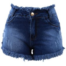 Short Jeans Feminino Desfiado Destroyed