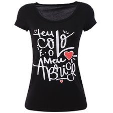 Camiseta Feminina Baby Look Estampa Frontal Manga Curta