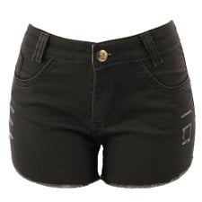 Short Jeans Hot Pants Feminino Barra Desfiada Destroyed