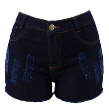Short Jeans Feminino Hot Pants Barra Desfiada Destroyed