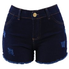 Short Jeans Feminino Hot Pants Destroyed Com Barra Desfiada