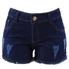 Short Jeans Hot Pants Feminino Destroyed Com Barra Desfiada
