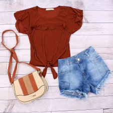 "Kit Insta Lovers Blusa Lurex ""M"" + Short ""42"" + Transversal"