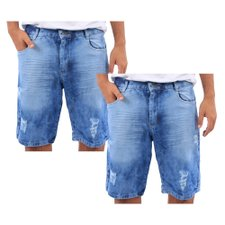 "Kit 2 Bermudas Jeans Masculina Estampa Delavê E Destroyed ""44"""