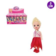 Kit 5 Bonecas Little Amy Pop Girls Colorida Brinquedo Infantil