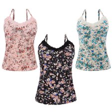 Kit 3 Blusas Regata Floral Decote Rendado Bojo Alça Regulável