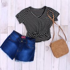"Kit Insta Lovers Blusa ""G""+ Short Jeans ""40"" + Transversal"