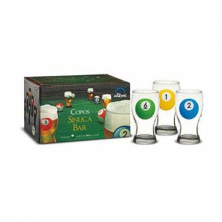 JOGO SINUCA BAR 6PCS 120/041 SOL GLASS JG