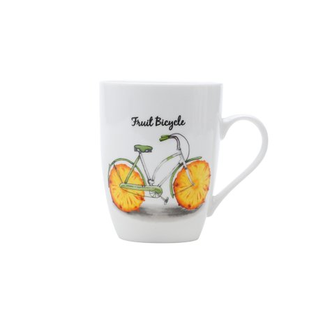 CANECA PORCELANA 340ML BIKE ABACAXI 25792 BON GOURMET PC