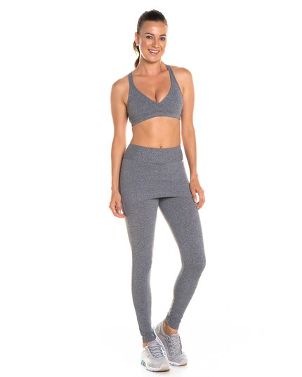 0a062a484 Calça legging com saia cós anatômico cinza mescla