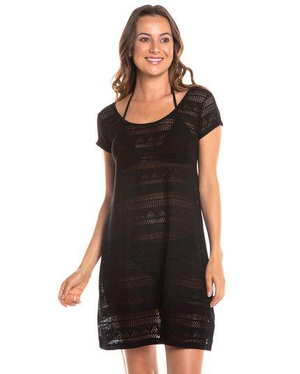c47cf2a37 Saída de praia vestido curto de renda com manga e laço nas costas preta