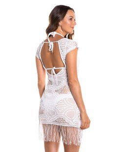 ae246547163f Saída de praia vestido curto de renda com franjas branca. 93% Poliamida 7%  Elastano