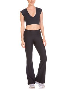Top Fitness Cropped com Manguinha e Bojo Removível Preto