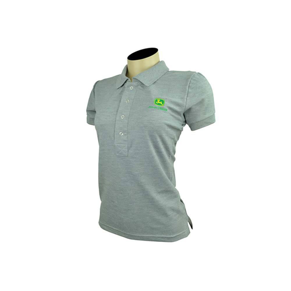 Camisa Pólo Feminina Cinza Mescla Linha Premium - John Deere  804fbc7abb296