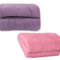 Kit Manta Casal Flannel Home Design Violeta + Manta Casal Flannel Home Design Rosa Antigo 180x220cm - Corttex