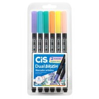Marcador Dual Brush Aquarelavel Pastel Estojo com 6 Cores - Cis