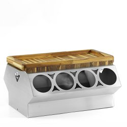Kit Cooler V8 com Gamela Teca para churrasco - 43x22x2 Cm