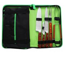 Kit Churrasco Inox Full Tang Estojo Avental Tábua