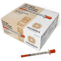 Seringa para Insulina 1mL com agulha fixa 12,7 x 0,33mm C/100 Descarpack